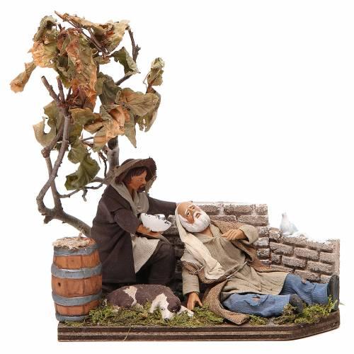 Scene of mercy, Neapolitan nativity figurine 12cm s1