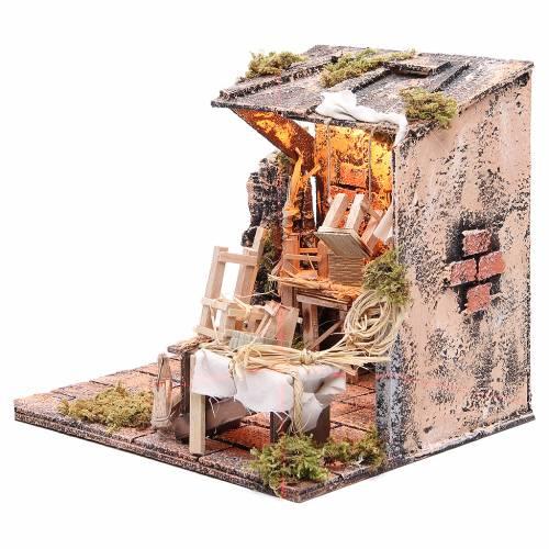 Scène rempailleur chaises 28x26x24 cm crèche napolitaine s2