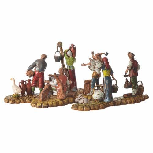 Scene with 3 shepherds, nativity figurines, 10cm Moranduzzo s5