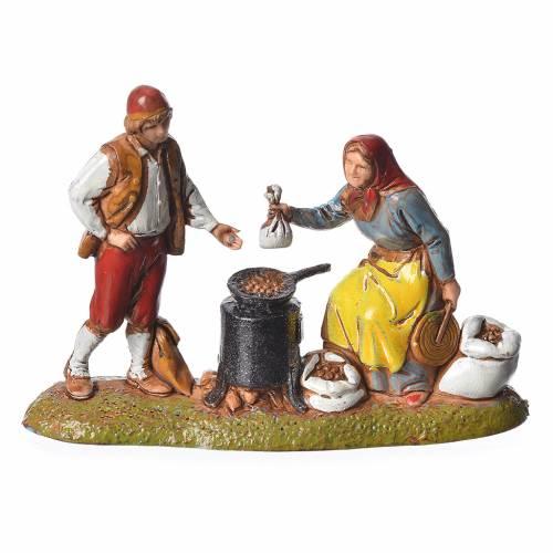 Scene with 4 nativity figurines, 6cm Moranduzzo s3