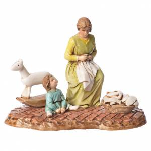 Scene with woman and child nativity figurines 10cm Moranduzzo s1