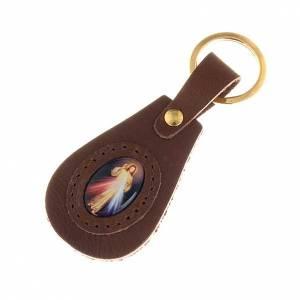 Schlüsselringe: Schluesselanhaenger Leder goettliche Barmherzigkeit oval