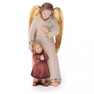 Engel: Schutzengel mit Mädchen moderner Stil Grödnertal