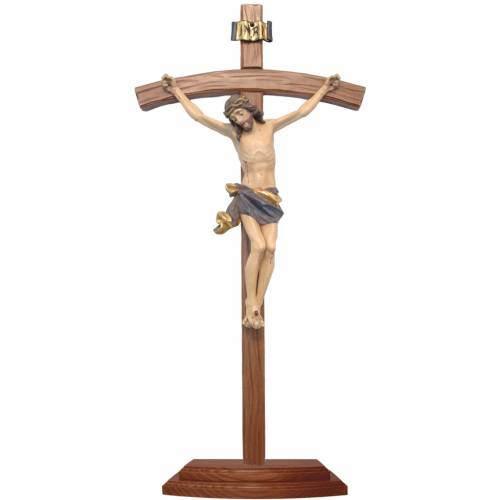 Sculpted crucifix with base in antique gold Valgardena wood s1