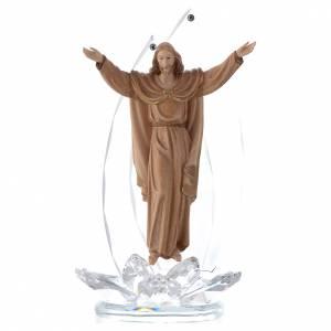 Bonbonnières: Sculpture bois et cristal Christ Ressuscité h 21 cm