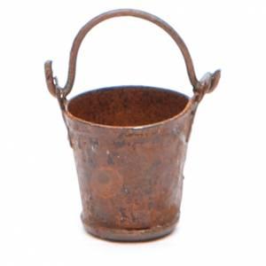 Secchio metallo antichizzato per presepe s1