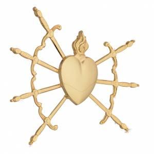 Aureole i korony do figur: Serce z 7 mieczami mosiądz pozłacany 16 cm