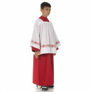 First Communion Albs: Server surplice and red cassock
