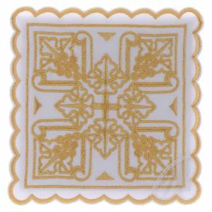 Service linge autel coton quatre grappes de raisin dorées et croix s1
