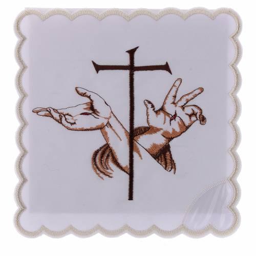 Servizio da altare cotone mani stigmate di Gesù e croce s1