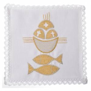 Servizi da messa e conopei: Servizio da mensa 100% lino pani e pesci