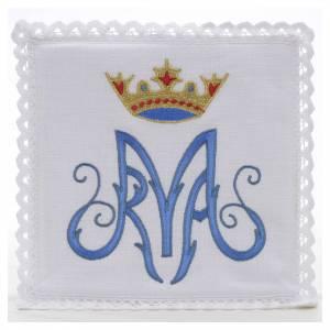 Servizi da messa e conopei: Servizio da mensa 100% lino simbolo mariano blu