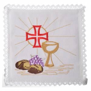 Servizio da messa 100% lino calice croce pane uva s1