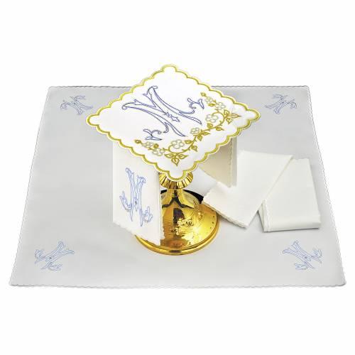 Set linge autel coton broderie bleue M mariale s1