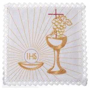 Set linge d'autel calice, raisin et hostie 100% lin s1