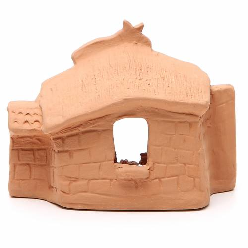 Shed and Nativity natural Terracotta 11x14x7cm s4