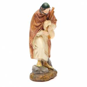 Nativity Scene figurines: Shepherd with bagpipe in painted resin 10cm Martino Landi Collection