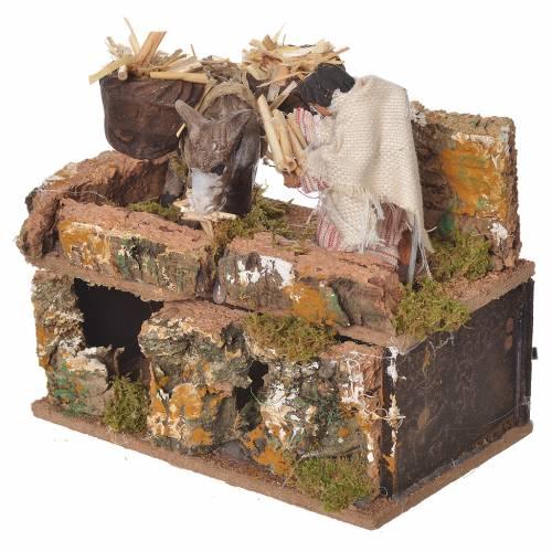 Shepherd with donkey, 8cm animated nativity s3