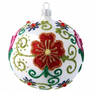 Christmas balls: Shiny white christmas tree ball with multicoloured flower decorations 100 mm