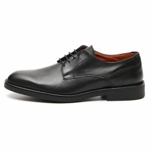Shoes in opaque real black leather s1