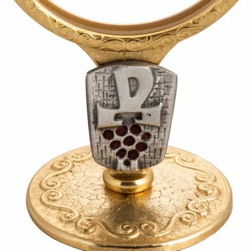 Shrine for Magna Host in gold-plated brass with Chi-Rho and grapes s2