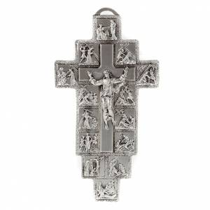 Metal Crucifixes: Silver crucifix with 14 Stations of the cross and resurrected Ch