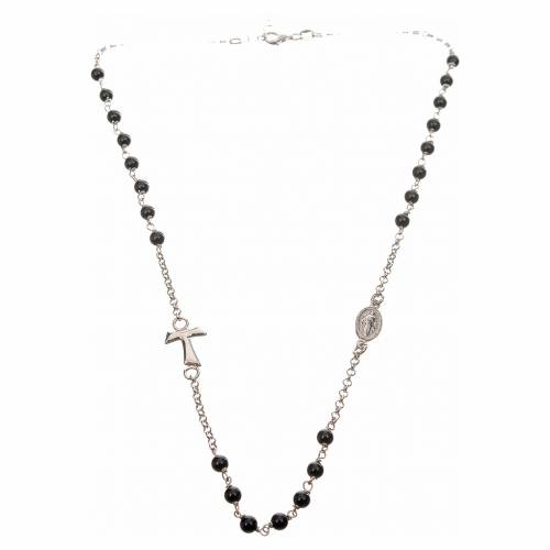 Silver necklace with Tau cross and freshwater pearls, MATER jewe s4