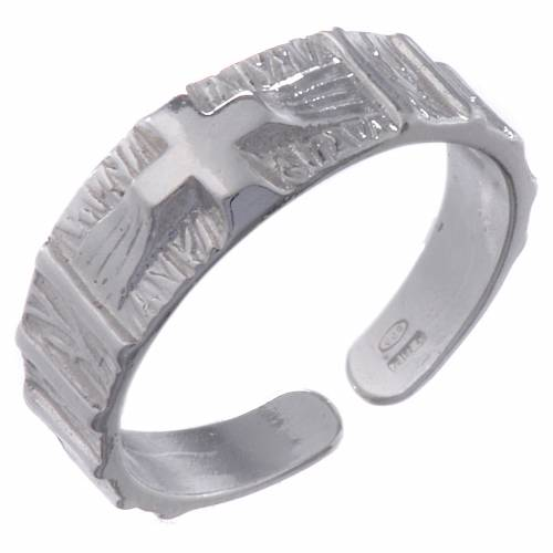 Silver religious ring with cross s1