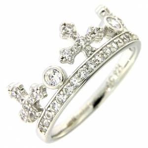 Prayer rings: Silver ring crown with white zircons AMEN