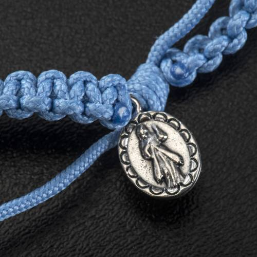 Single-decade Medjugorje bracelet, light blue cord and olive gra s3