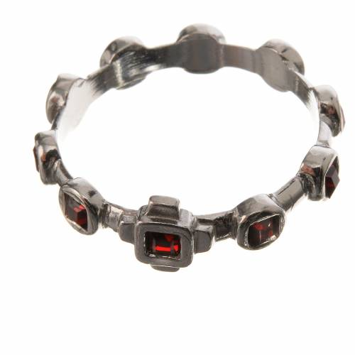 Single-decade ring in 800 silver and red Swarovski s2