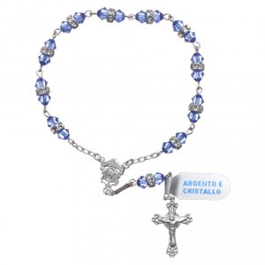Single decade rosaries: Single-decade rosary in 800 silver and light blue crystal