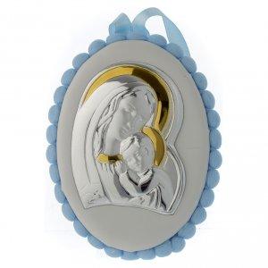 Sopraculla pon pon azzurro Madonna Bambino con carillon s1
