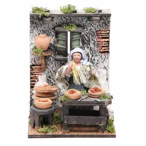 Spaghetti seller animated figurine for Neapolitan Nativity, 10cm s1
