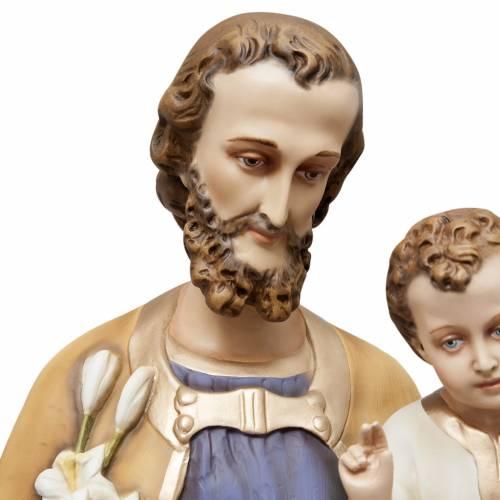 St Joseph à l'enfant 130 cm fibre de verre peinte s3