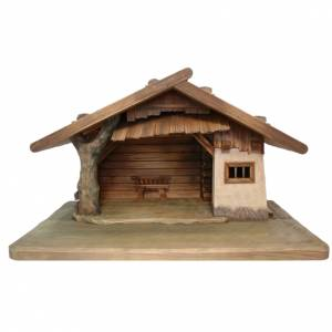 Stable for nativities in painted Valgardena wood s1