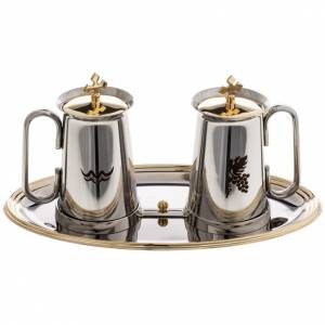 Metal cruets: Stainless steel cruet set, water and grapes symbols