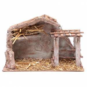 Capanne Presepe e Grotte: Stalla con fienile e recinto di animali 22,5x3518,5 cm