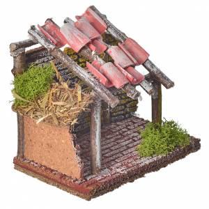 Stalla per animali in legno per presepe 14x14x9 s5