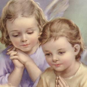 Stampa legno cuore 2 angeli e bimbo s2