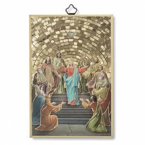 Quadri, stampe, codici miniati: Stampa su legno Pentecoste Diploma Ricordo della Cresima ITA