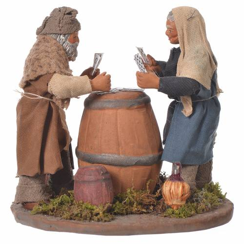 Standing men playing cards, Neapolitan Nativity 10cm s1