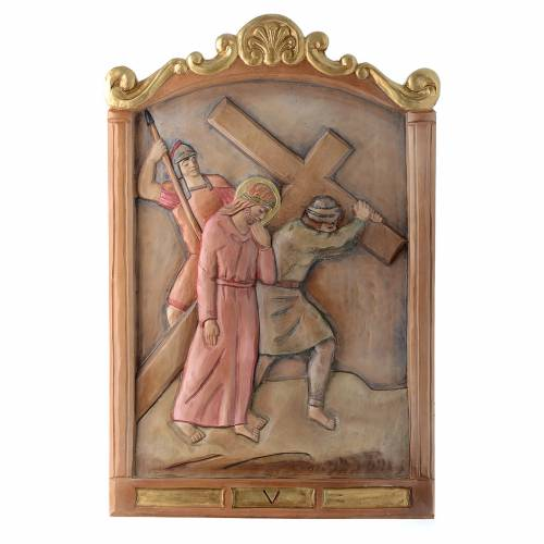 Stations of the Cross wooden relief, painted s5