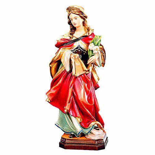 Statua di Santa Veronica in legno con veste rossa e fiori bianchi 1