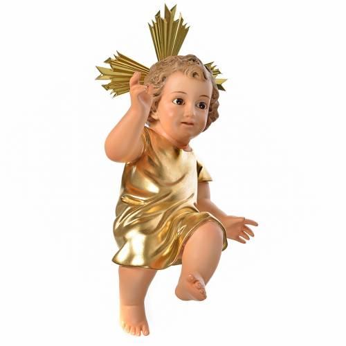 Gesù Bambino pasta legno veste dorata cm 35 dec. elegante s1