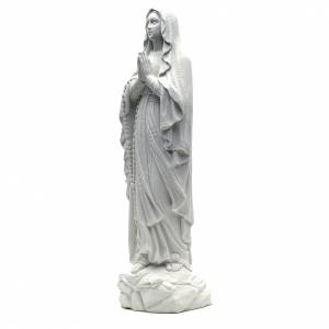 Statua Madonna Lourdes 50 cm polvere di marmo bianco s2