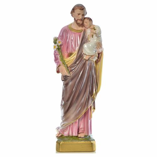 Statua San Giuseppe con bambino 50 cm gesso s1