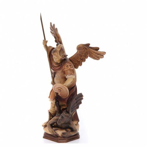 Statua San Michele Arcangelo legno dipinto marrone Val Gardena s2