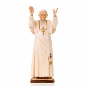 Statuen aus gemalten Holz: Statue Benedictus XVI Holz