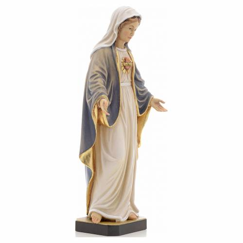 Statue bois sacré coeur de Marie peinte s4